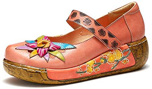 gracosy Mokassins Slipper, Mary Jane Damenschuhe Sommer Leder Loafer Vintage Mokassins Pantoletten Bunte Blume Sommerschuhe Slip-ons Flach Bootsschuhe, MEHRWEG