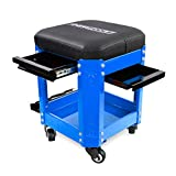 OEMTOOLS 24996 Blue Rolling Workshop Mechanics Creeper Seat with 2 Tool Storage Drawers Under Seat, Parts Storage, & Can Holders, Rolling Stool for Mechanic Tools