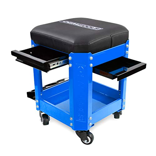 OEMTOOLS 24996 Blue Rolling Workshop Creeper Seat with 2 Tool Storage Drawers, Under Seat Parts Storage, Can Holders | Handy Mechanic's Seat is the Ultimate Garage Accessory | Work in Comfort