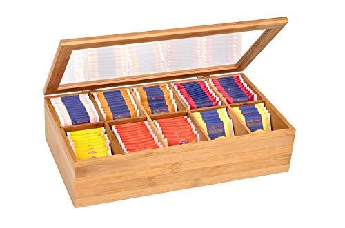 GRÄWE Teebox aus Bambus mit 10 Fächern, klappbarer Deckel, Sichtfenster, Teebeutelbox für aromageschützte Aufbewahrung von Tee - 36 x 20 x 9 cm