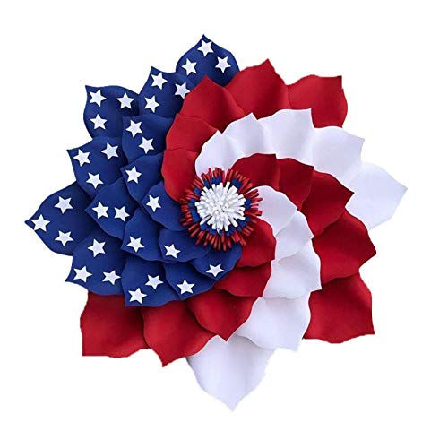 Patriotic Floral Wreaths For Front Door Outside Decor 4th Of July Decorations Festival Garland Porch For Memorial Day Veterans Day Ornaments Gifts Independence Day Memorial Wreath US Patriotic Flag