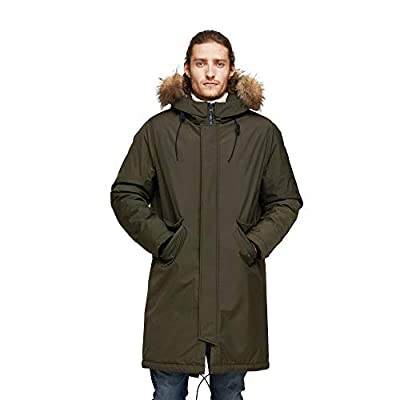 TIGER FORCE Winter Parka City Jackets for Men Business Coat Hooded with Real Fur Trim Insulated Waterproof Snow Jacket Green