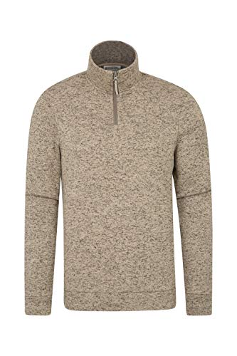 Mountain Warehouse Idris Fleecejacke Für Herren - Leichtes Oberteil, atmungsaktives Sweatshirt, schnelltrocknend, weiche Mikrofleecejacke - Für Camping bei kaltem Wetter Beige XL