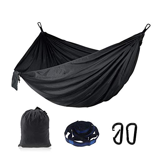 Outdoor Camping Hammock-Double Hammock with Straps and Carabiners, Hammock for Backpacking, Beach, Hiking, Sleeping, Travel-Maxi Capacity of 660lbs) (Black)