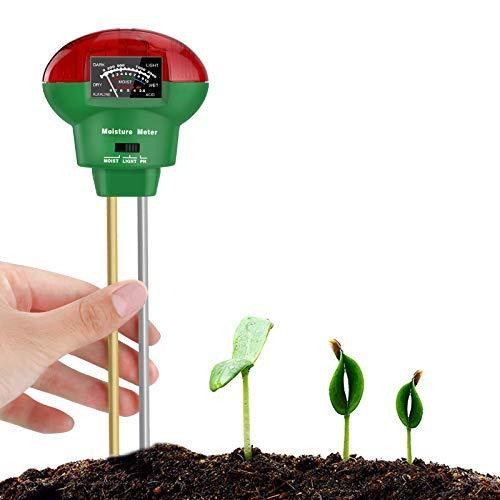 Bearbro Medidor de Suelo, Medidor de pH, 3 en 1 Sensor de Humedad higrómetro para jardín, Granja, Plantas de césped en Interiores y Exteriores No Necesita batería