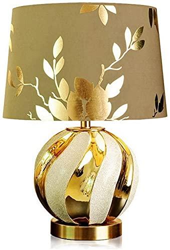 Lámpara de mesa de estilo moderno europeo, lámpara de mesa de cerámica, pantalla de impresión marrón dorado para sala de estar, dormitorio, lámpara de noche, lámpara de mesa decorativa para hotel
