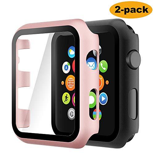Hianjoo Cover [2-Pack] Compatibile per Apple Watch 38mm Pellicola Proteggi Schermo, Custodia con Vetro Temperato per Compatibile con Apple iWatch 38mm Series 3/2/1 - Oro Rosa, Nero