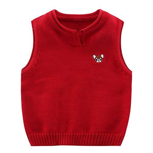 EOZY Kinder Jungen V-Ausschnitt Strickweste Streifen Pullover Weste Top Rot Größe 120