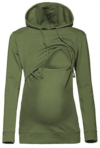 Happy Mama. Damen Kapuzenpullover Stillzeit Top Zweilagiges Sweatshirt. 272p (Olivgrün, 46, 3XL)