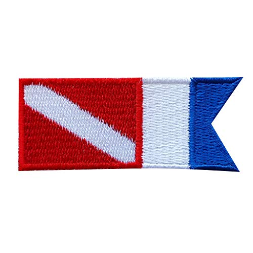 Emblema con Bandera de Alfa de Buceo con Parche Accesario Insigna para Ropa de Multi Color y Tamaño - Azul Blanco Rojo