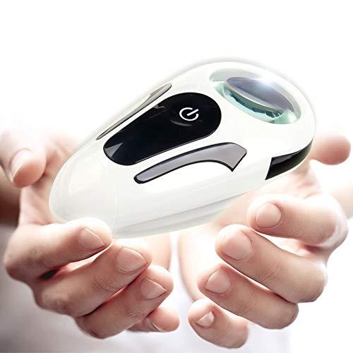 IGOSAIT Lector de asistencia, 5 lupas de lente con luces LED, luces UV para personas mayores leyendo lentes ópticas grandes mirando mensajes de texto del teléfono móvil lupa de mano