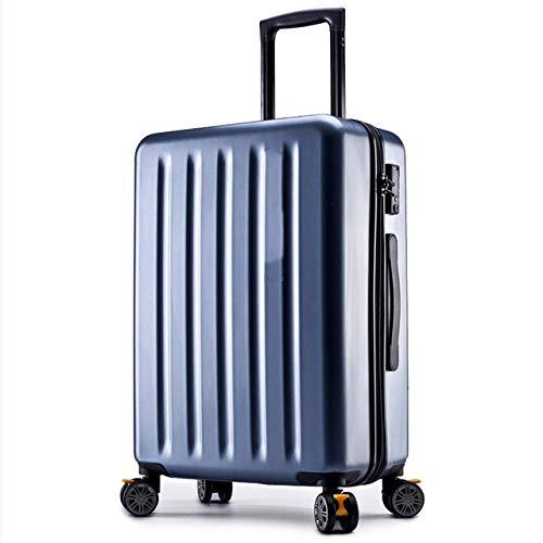AHJSN Nuevo Equipaje con Cremallera de Varilla de Aluminio, Carcasa de PC y Bolsa de Equipaje con Rollo de timón de Metal Trolley Maleta Ruedas 22 Azul Azul