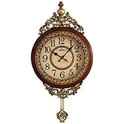 SHISEDECO Elegant, Traditional, Decorative, Hand Painted Modern Grandfather Wall Clock Fancy Ethnic Luxury Handmade Decoration, Swinging Pendulum for New Room or Office. Large. 29.5 Inch. (Brown)
