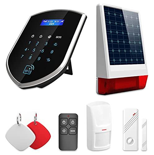 Wolf Guard Smart Home sistema di allarme, 3G/GSM/WiFi auto Dial pannello di accesso con porta finestra di allarme, allarme PIR Motion Sensor, distanza telecomando, sirena solare per esterni