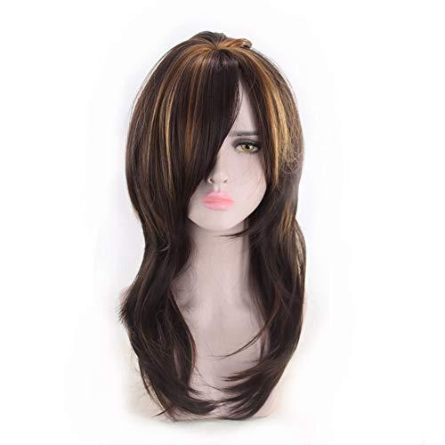 Perruque synthétique bouclée duveteuse pour femme, perruque brune, résistance à la chaleur et confortant la perruque naturelle du filet rose pour une robe de tous les jours