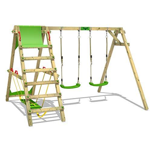 FATMOOSE Kinderschaukel Schaukelgestell JollyJade - Schaukel, Schaukelgerüst, Doppelschaukel, Holzschaukel mit Kletteranbau
