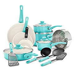 "Cookware set includes: 4"" mini frying pan, 7"" and 9.5"" frying pans, 1QT and 2QT saucepans with lids, 5QT stock pot with lid, 2.5QT sauté pan with lid, 7"" stainless steel steamer, and 4 kitchen utensils Our healthy and easy-to-clean ceramic nonstick c..."