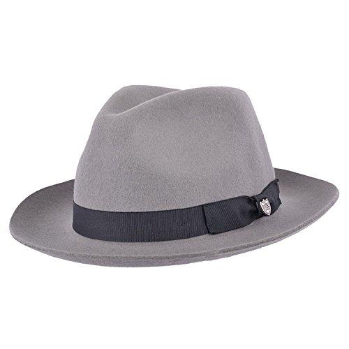 Chapeau mou de style Fédora Gladwinbond fabriqué à la main, de qualité, avec bande assortie, 100% laine - Gris - Small