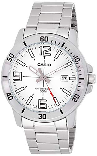 Casio MTP-VD01D-7BV Men's Enticer Stainless Steel White Dial Casual Analog Sporty Watch