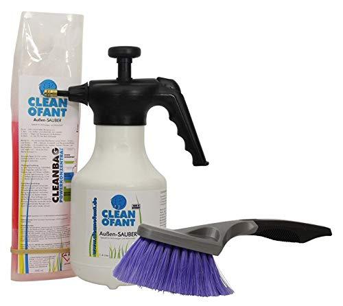 CLEANOFANT Außen-SAUBER Set: Reiniger-Konzentrat, Pumpsprühflasche + Bürste. Für Wohnwagen, Wohnmobil, Caravan, Vorzelt. Das Shampoo vereint Außenreiniger, Insektenentferner + Felgenreiniger