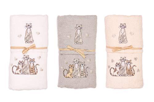 GoldenHome Set di 2 Asciugamani, Ospite + Salvietta, 100% Cotone, Ricamati con Motivo Gatto. Idea Regalo. (Beige)