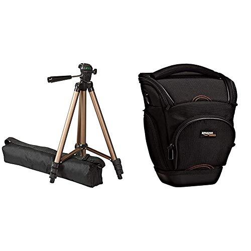 AmazonBasics - Trípode Ligero para fotografía (127cm) + Funda para cámara de Fotos réflex, Color Negro