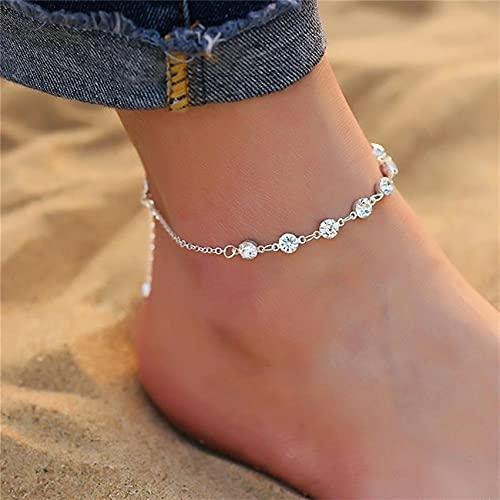 FENGGUO Tobilleras de playa de cristal vintage tobilleras para mujer y niña.