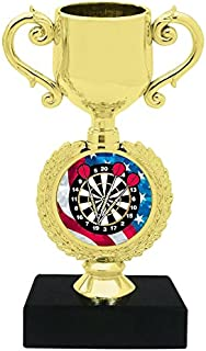 Express Medals (1-3-5 Packs) of 6 inch Darts Trophy Cup Award with Engraved Plate on Black Marble Base MY507