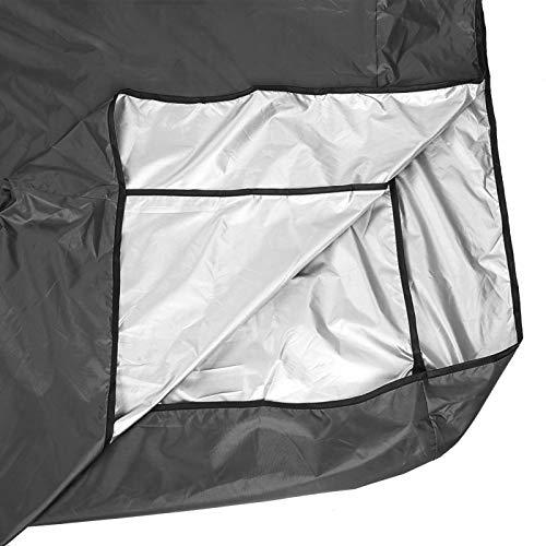 Uxsiya Cubierta para columpio Taft, 190 cm, poliéster plateado, accesorio para balancín, para balcones, color negro