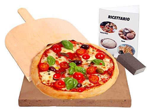 pietra refrattaria italiana LA VERA Pietra Refrattaria Per Questo è più Cara per Pizza da Forno Comprensiva di Pala per Pizza e Ricettario – Realizzare la vera Pizza Italiana (35x35x2