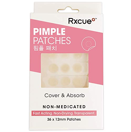 Korean Skin Care - Rxcue Acne Patches - Hydrocolloid Acne Patch - (Invisible, Ultra-Thin, Mighty Stick) Cystic (36x12mm/Box), Sweat Proof Zit Patch, Blemish and Acne Pimple Patches