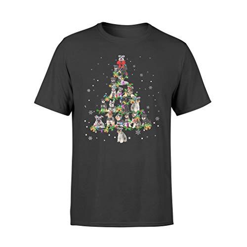 Leet Group Schnauzer - Camiseta de regalo de Navidad, diseño de árbol de Navidad