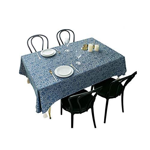 AMDXD Manteles Antimanchas Poliester, Color Sólido con Borlas Manteles Mesa Rectangular para Bodas Fiesta Buffet Navidad Cumpleaños Restaurante, Azul Marino, 140x180CM