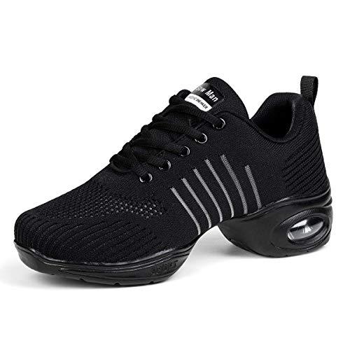 Women's Jazz Shoes Lace-up Sneakers - Breathable Air Cushion Lady Split Sole Dance Zumba Walking Shoes Platform Black,8
