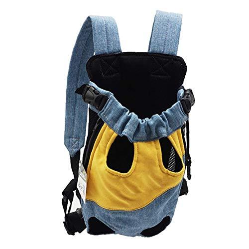 tJexePYK Pet Travel Perro Portador del morral Aire Libre portátil Bolsa del Animal doméstico Transpirable para Perros Gatos Azul Amarillo XL
