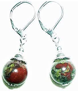 DRAGONS BLOOD Earrings STRENGTH COURAGE PASSION Metaphysical BloodStone Silver Pltd Leverbacks