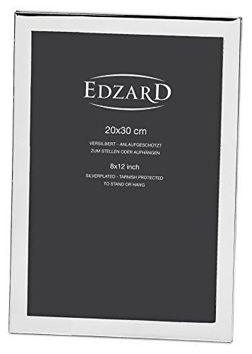 EDZARD Bilderrahmen Prato für Foto 20 x 30 cm (ca. DIN A4), edel versilbert, anlaufgeschützt, mit Samtrücken, inkl. 2 Aufhängern, Fotorahmen zum Stellen und Hängen