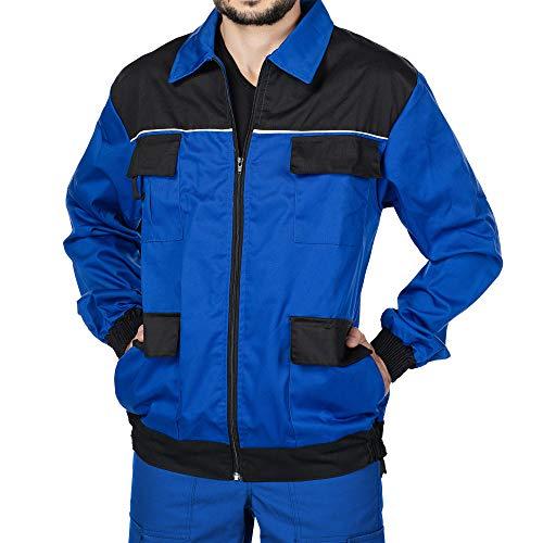 Mazalat Arbeitsjacke männer, Schutzjacke mit vielen Taschen,Arbeitsjacken Herren, Jacket mit Brusttasche Herren, Qualitat Jacke, Arbeitskleidung männer (Blau/Schwarz, L)