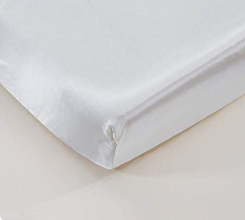 California Drapes Soft & Silky Satin Crib Fitted Sheet, Great for Babies with Sensitive Hair, Fully Elastic All Around for A Secure Fit (White)