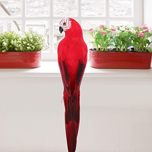 Lindo pássaro artificial de 35cm / 13,8 pol. Simulação de pássaro, decoração de jardim Espuma + pena de pássaro artificial vermelho, fotografia Festa de Natal para jardim