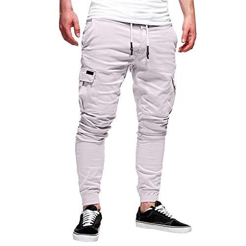 Skxinn Jogginghose/Herren Sporthose Fitness Slim Fit Hose Freizeithose Sweathose Jogger Streetwear Sweat Pants Casual Sport Trainingshose Angebote (X-Large, Z4-Weiß)