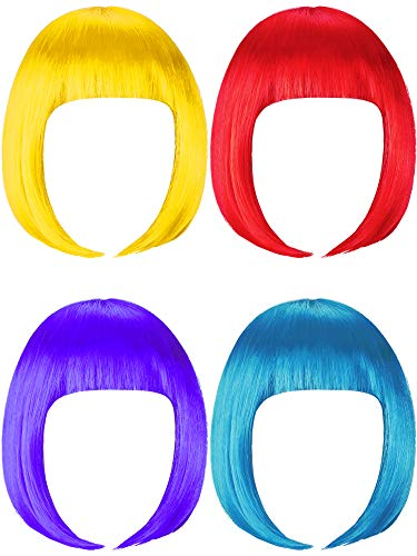 4 Pieces Short Bob Hair Wigs Costume Colorful Cosplay Wig Daily Party Hairpiece for Women Girls Decoration (Yellow, Red, Blue, Purple)