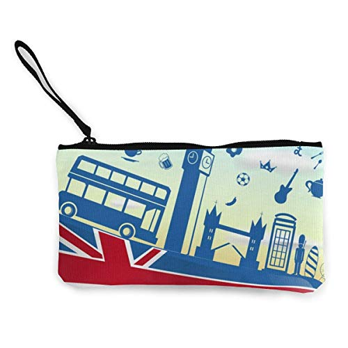 UK Background Men's and Women's Cute Fashion Personality Canvas Coin Purse with Zipper Makeup Bag with Wrist Strap Cash Callphone Bag 8.5 X 4.5 Inch
