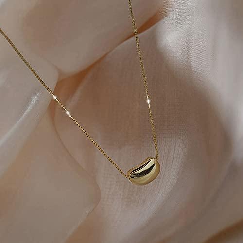 MIKUAX Collar para Mujer Plata esterlina Nuevo Frijol de Oro Cadena de Frijoles de Plata diseño de nicho Sentido luz Lujo Temperamento Minimalista