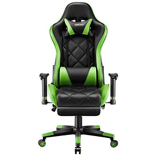JL Comfurni Gaming Stuhl Bürostuhl mit Fußstütze Ergonomischer Drehstuhl Chefsessel Computerstuhl höhenverstellbar Schreibtischstuhl mit verstellbaren Armlehnen aus Kunstleder Grün