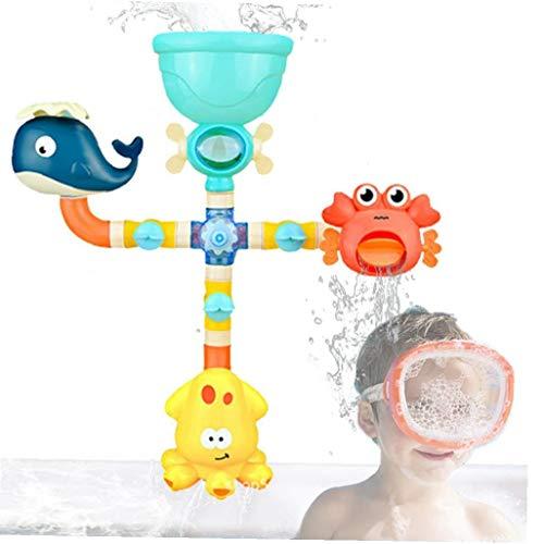 Ducha del juguete del bebé del juguete de bañera-bricolaje Tubería de agua de juguete de los niños Ducha conjunto de juguete con aerosol de agua y PVC fuerte ventosa (apto para niños de 6 meses y más)