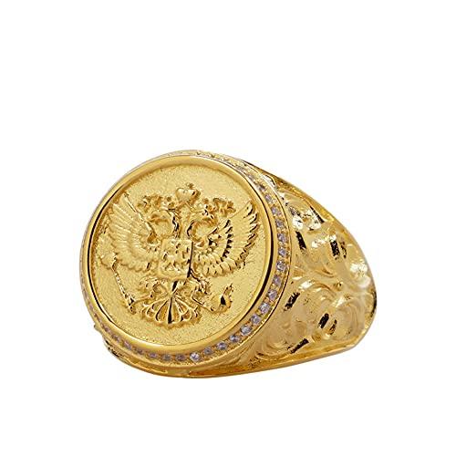 Plata 925 Doble Águila Plata Anillo, Hombres Incrustado Roca Tallado Flor Anillo, Platachapado 18K Oro Anillo, Ajustable 7-12,Oro