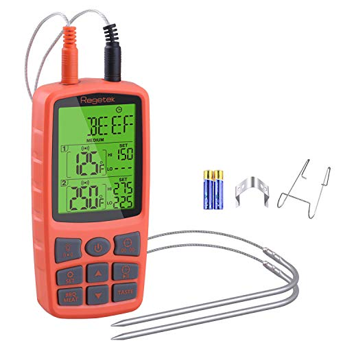 Regetek Cooking Food Meat Grill Thermometer Clock Timer Alarm FDA Approval for Smoker Oven Kitchen BBQ Dual Probe Digital LCD Backlight Thermometer