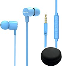 Joymiso Tangle Free Earbuds for Kids Women Small Ears with Case, Comfortable Lightweight in Ear Headphones, Flat Cable Ear Buds Wired Earphones with Mic and Volume Control for Cell Phone Laptop (Blue)