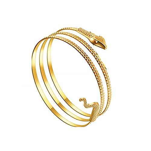 JinYu Metall Schlangenarmband Wirbel Schlange Spirale Oberarm Manschette Armlet Armreif Armband Ägyptische Kostüm Zubehör für Frauen Gold